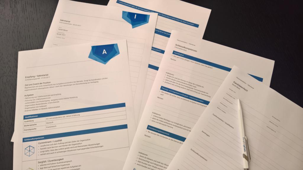 Ausgedruckte Anforderungsprofile & Interviewleitfäden aus Profilplus